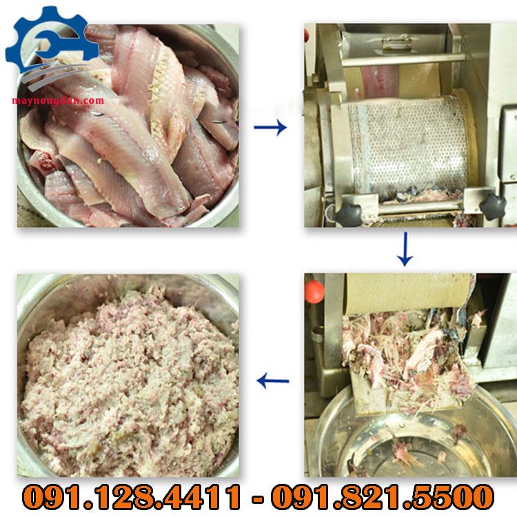 Thành phẩm cá sau khi sử dụng máy tách xương cá